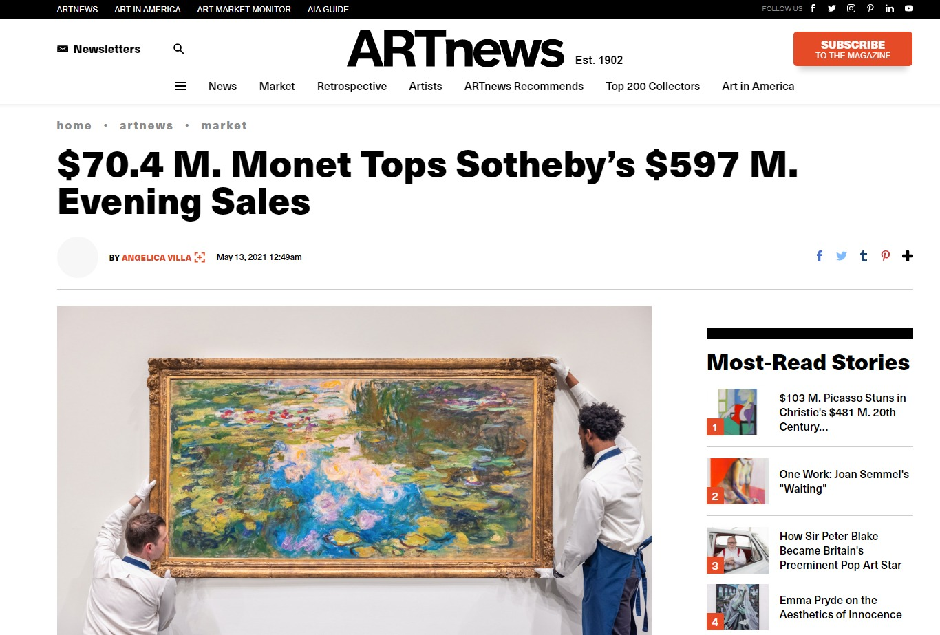 70.4m monet tops sotheby's 597m